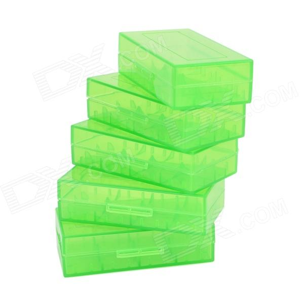PP 18650 / CR123A / 16340 / CR2 / 15270 Battery Storage Cases - Translucent Green (5 PCS)