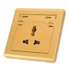 ZAP 5V 2.1A Dual-USB Port + EU / US / UK Plug AC Power Socket Wall Panel - Golden  (AC 110~250V/10A)