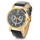 CJIABA Men's Stylish PU Band Analog Mechanical Wristwatch - Golden + Black