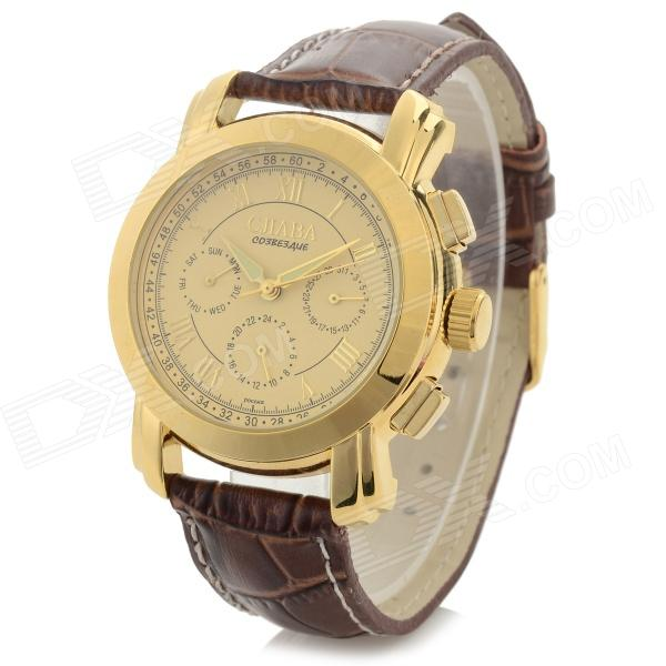 CJIABA Water Resistant Men's Stylish PU Band Analog Mechanical Wristwatch - Golden + Brown Midland Used goods