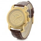 CJIABA Water Resistant Men's Stylish PU Band Analog Mechanical Wristwatch - Golden + Brown