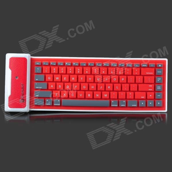Universal Wireless Foldable Silicone Soft Bluetooth Keyboard for Cellphone / Tablet PC - White + Red universal 61 key bluetooth keyboard w pu leather case for 7 8 tablet pc black