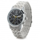 CJIABA Men's Stylish Stainless Steel Band Analog Mechanical Wristwatch - Black + Silver