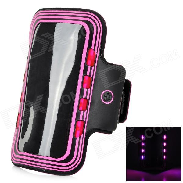 Sports Arm Band Case w/ LED Flickering Light for Samsung Galaxy S5 - Deep Pink + Black (2 x CR2032) sunshine sports velcro protective arm bag for samsung galaxy s5 i9600 red black