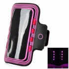 Sports Arm Band Case w/ LED Flickering Light for Samsung Galaxy S5 - Deep Pink + Black (2 x CR2032)
