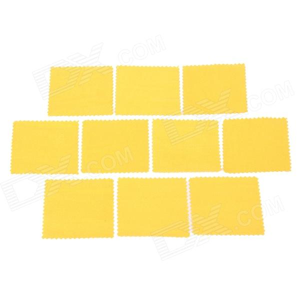 Microfiber Cleaning Clothes for Glasses / Cellphone / Monitor / Camera - Yellow (10 PCS)