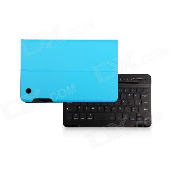 B.O.W Detachable Bluetooth V3.0 Keyboard With PU Leather Case for IPAD Mini 1 / 2 - Black + Blue