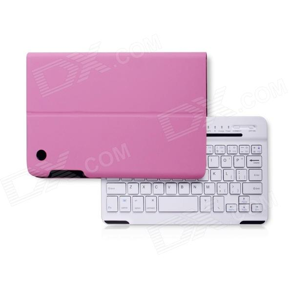B.O.W Detachable Bluetooth V3.0 Keyboard With PU Leather Case for IPAD Mini 1 / 2 - White + Pink