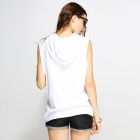 Catwalk88 Summer Casual Women's Printed Pattern Cotton Sleeveless Hoodies - White (L)