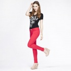 Catwalk88 Women's Casual Cotton Low-waist Pencil Pants / Skinny Jeans - Red (Size 27)