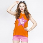 Catwalk88 Summer Casual Women's Printed Pattern Cotton Sleeveless Hoodies - Orange (S)