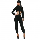 H5008 Sexy Waist Cross Cutout Polyester Long Sleeve Jumpsuit - Black (L)