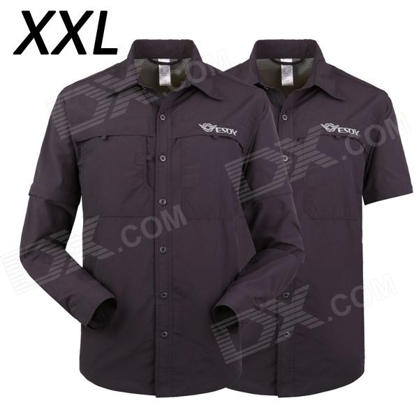 ESDY-627 Men's Quick-Drying Detachable Outdoor Shirts - Navy (Size XXL)