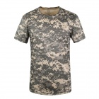Round Collar Camouflage Quick-Dry Net Breathable Short-sleeved T-shirt - ACU Camouflage (XL)