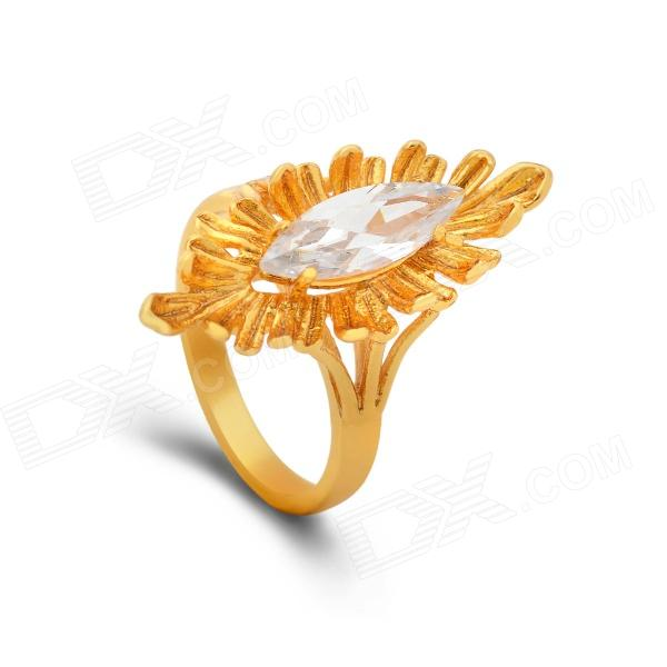 KCCHSTAR Gold-plated Tree's Eyes Style Crystal Finger Ring - Golden + Transparent (US Size 8)