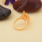 "KCCHSTAR Gold-plated ""Tree's Eyes"" Style Crystal Finger Ring - Golden + Transparent (US Size 8)"