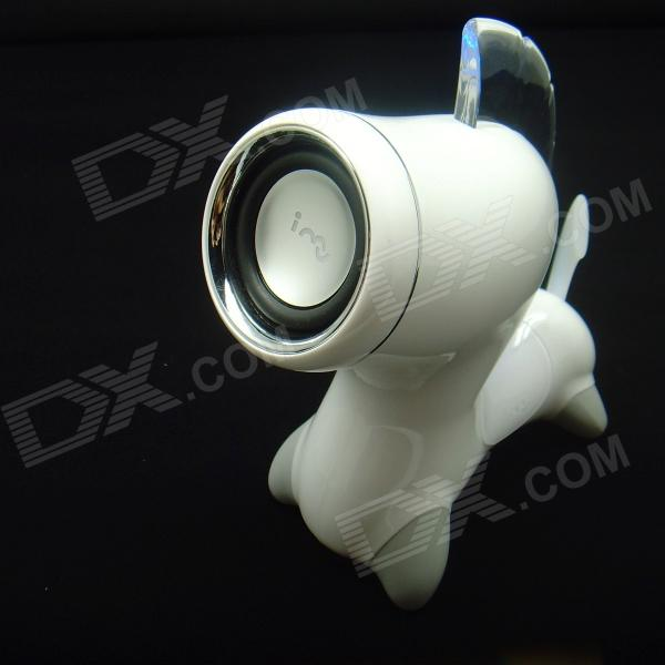 iMU Horse Style Bluetooth V2.1 + A2DP Super Bass Speaker for IPHONE + More - White + Silver