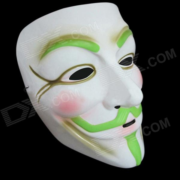 Glow-in-the-dark V Pattern Ghost Mask for Costume Party - White + Green