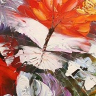 "Iarts DX0704-2 Hand-painted ""Butterflies & Flowers"" Oil Painting - Red + Yellow (60 x 60cm)"