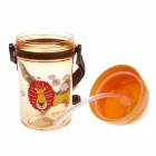Yaqi YQ-9935 Lion Patterned Children Straw Water Bottle Cup - Yellow + Brown + Transparent (400ml)