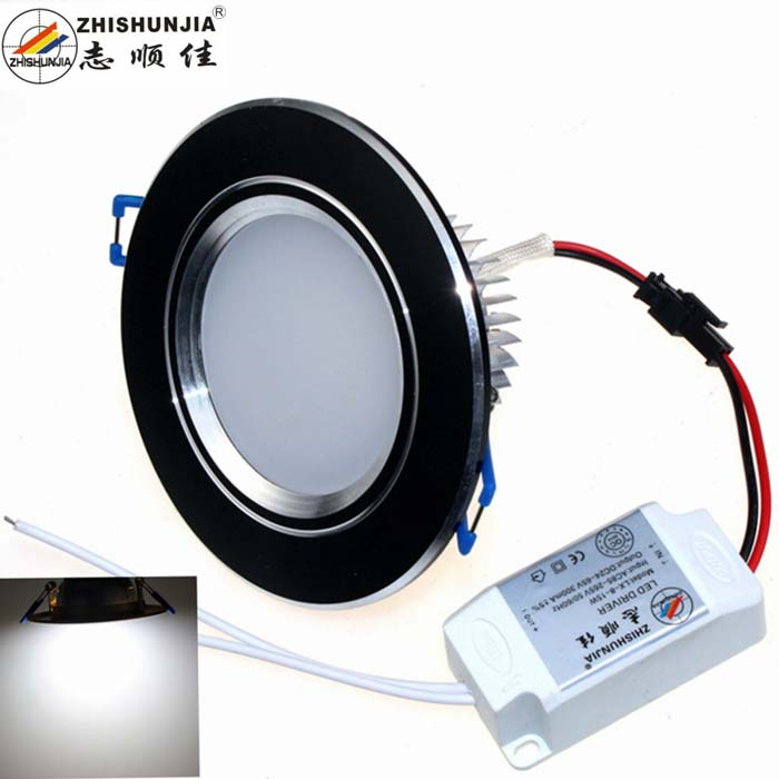 ZHISHUNJIA ZSJ12W-B 12W 800lm 6000K 24-SMD 5630 LED White Ceiling Light - Black + Silver (AC85~265V)