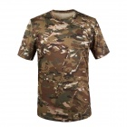 Round Collar Camouflage Quick-Dry Net Breathable Short-sleeved T-shirt - CP Camouflage (XL)