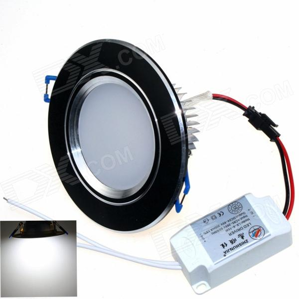 ZHISHUNJIA ZSJ8W-B 8W 600lm 6000K 16-SMD 5630 LED White Ceiling Light - Black + Silver (AC 85~265V)