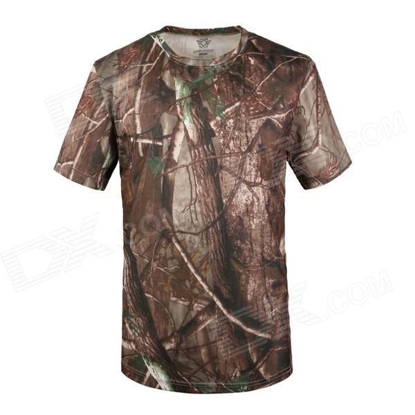 Round Neck Quick-Dry Breathable Short-sleeved T-shirt - AT Camouflage (XL)