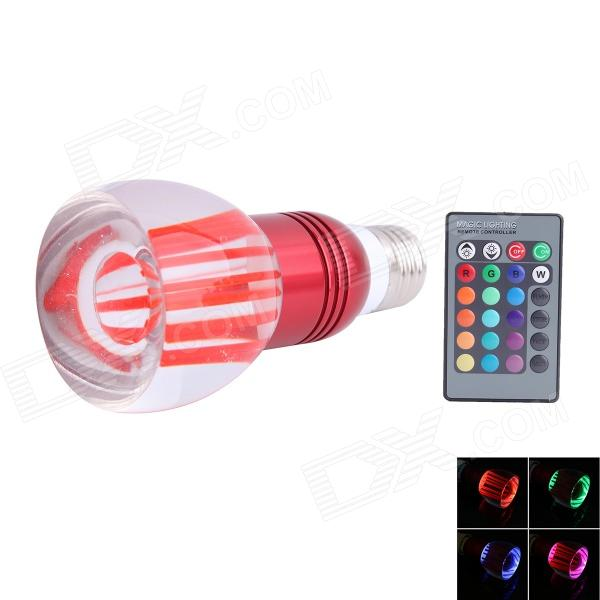 E27 3W 45lm LED RGB Light Acrylic Cup Style Bulb w/ Remote Control - Silver + Red (AC 85~265V) jr led e27 10w 500lm led rgb light bulb w remote control white silver ac 85 265v