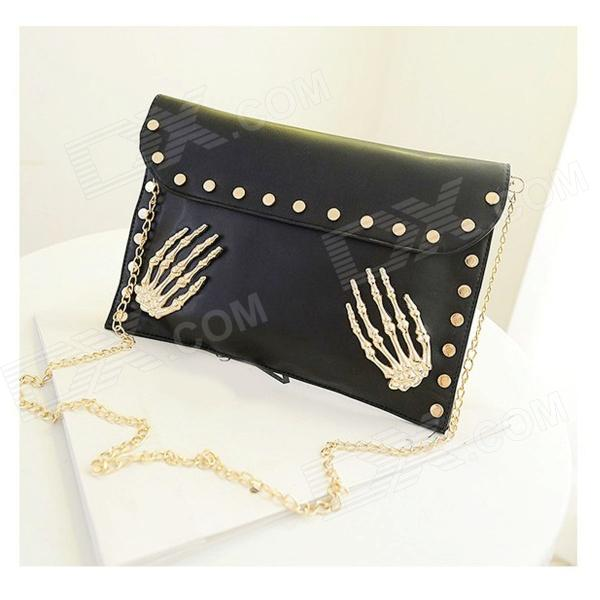 HG-90 Rivet Skeleton Hands Pattern PU Handbag / Purse for Women - Black + Golden