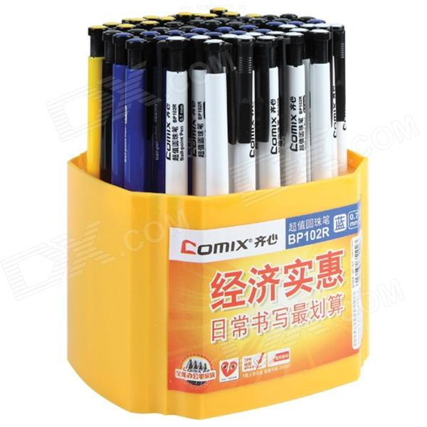 COMIX Blue Refill Ballpoint Ball Pens - White + Yellow + Multi-Colored (60 PCS) comix durable 50 page 12 stapler w staples blue 3 pcs