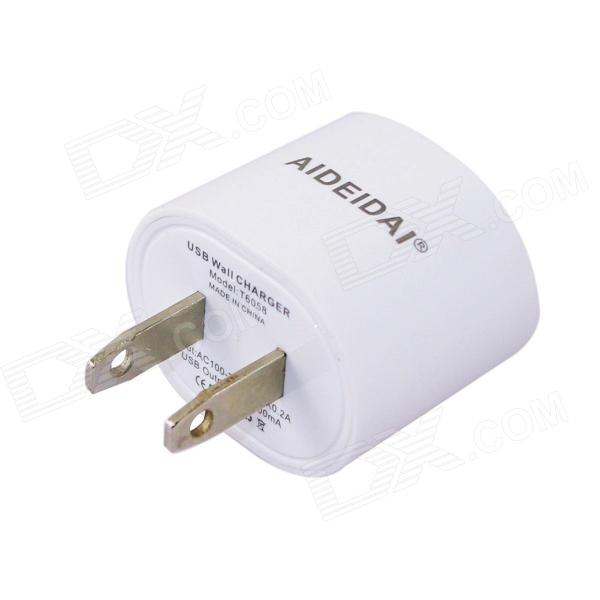 AIDEIDAI T6058 US Plug USB Power Adapter for IPHONE  / IPOD / Samsung - White