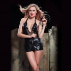 Zhengli ZL3777 Women's Plunge V-Neck Sexy Sleep Dress Lingerie Set - Black (Free Size)