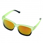 OUMILY Fashion Yellow Plated REVO Resin Lens Reflective Sunglasses - Light Green + Black