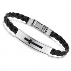 Women's Fashionable Black PU Leather Stainless Steel Bracelet - Black