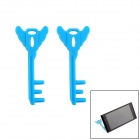 Portable Key Shaped Universal Mobile Phone Mount Holder Stand - Blue(2 PCS)