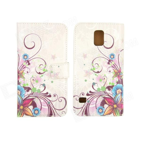 Flower Pattern Drawing PU Leather Plastic Case for Samsung Galaxy S5 - White + Multi-Colored protective pu leather plastic case cover w visual window for samsung galaxy s5 white