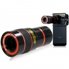 8X Zoom Telescope Lens w/ Holder for IPHONE / Samsung + More - Black