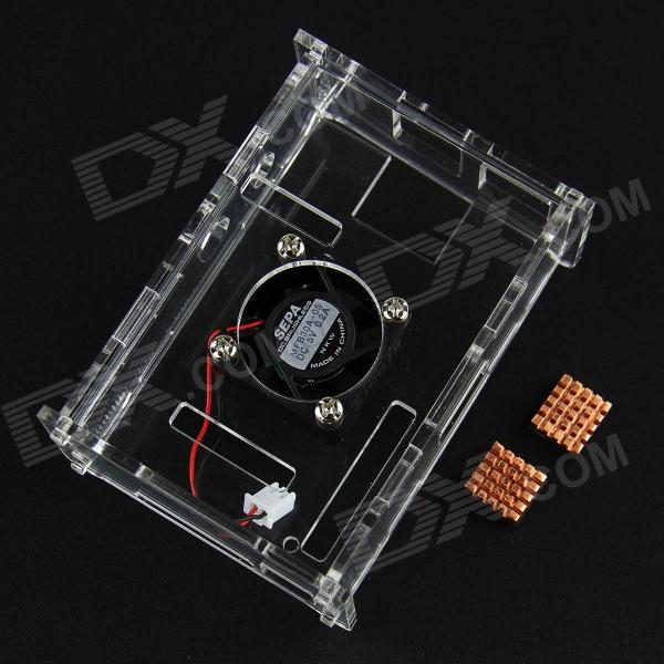 Acrylic Case w/ Cooling Fan  + Copper Heatsinks Set for Raspberry Pi - Transparent