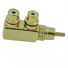 Copper Dual RCA to Mono Sound Plug Adapter - Golden