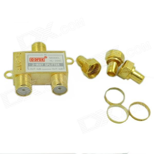 Copper + Iron 1-to-2 Cable TV Splitter - Golden - DXDIY Parts &amp; Components<br>Quantity 1 Piece Color Golden Material Copper + iron English Manual / Spec No Certification No Packing List 1 x Cable splitter<br>