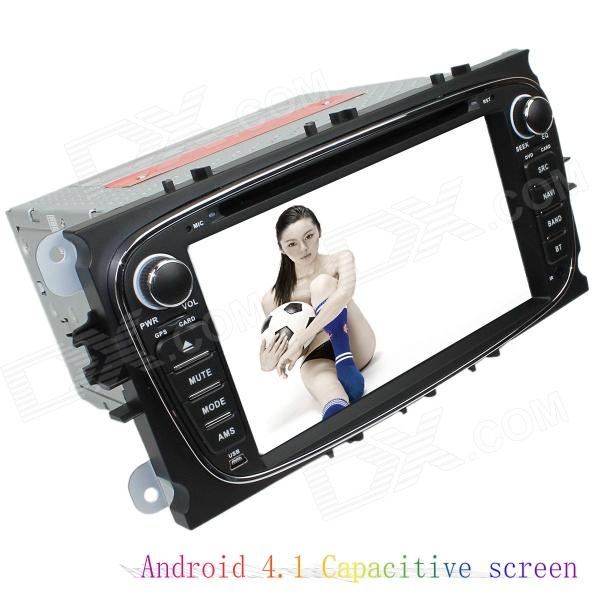 LsqSTAR 7 Android4.1 Capacitive Screen Car DVD Player w/ GPS WiFi Canbus AUX for Mondeo/Focus/S-Max joyous 7 touch screen android 4 2 dual core car dvd player w gps bt for ford focus focus 2