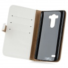 Protective Flip Open PU Case w/ Stand / Card Slots for LG G3 / D855 - White