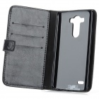 Protective Flip Open PU Case w/ Stand / Card Slots for LG G3 / D855 - Black