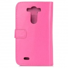 Protective Flip Open PU Case w/ Stand / Card Slots for LG G3 / D855 - Deep Pink