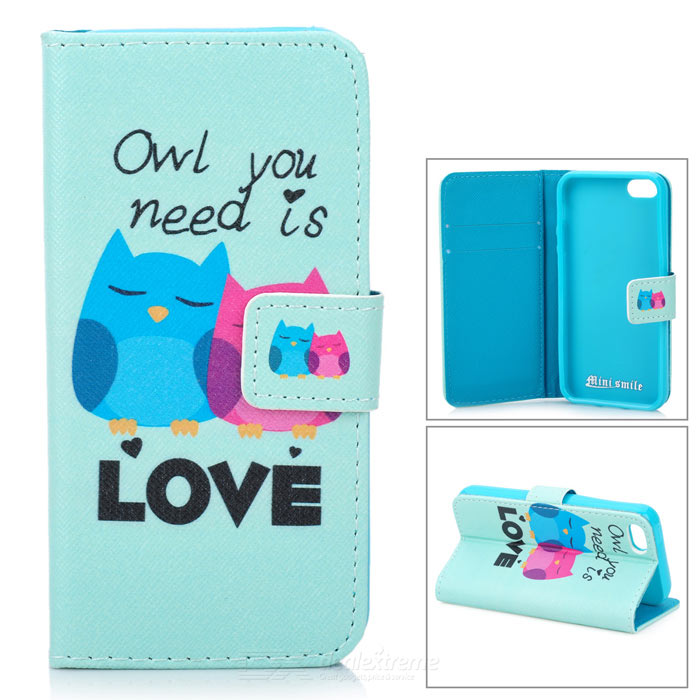 YI-YI Cute Cartoon Owl Pattern Flip Open PU Case w/ Stand / Card Slots for IPHONE 5 / 5S - Green anchor pattern flip open pu leather case w stand card slots for iphone 5 5s black green