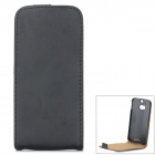 Protective Top Flip Open PU Case for HTC ONE2 / M8 - Black