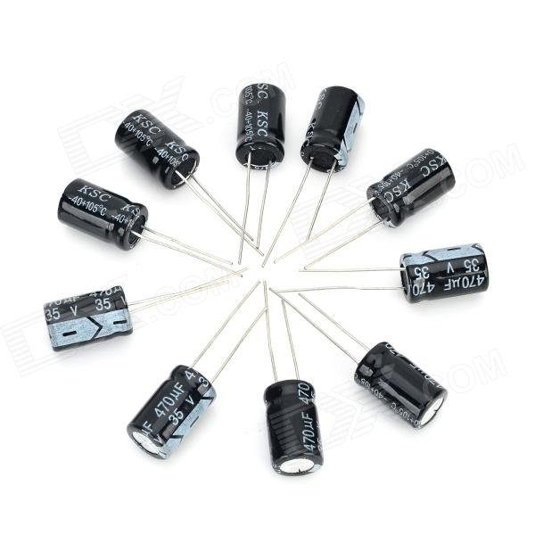 DIY 35V / 470UF Aluminum Electrolytic Capacitor - Black (10PCS) maitech 12 x 8mm 63v100uf electrolytic capacitors black 10 pcs
