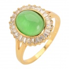 Women's Elegant Gold-plated Copper + Zircon Ring - Golden + Green (U.S Size 9)