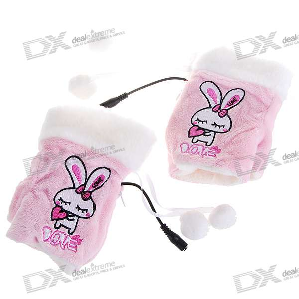 Cute Rabbit USB Heated Soft Warm Gloves (Pair)